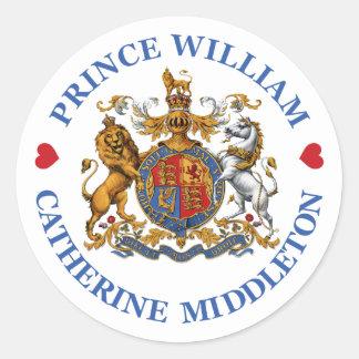 Boda de príncipe Guillermo y Catherine Middleton Pegatina Redonda