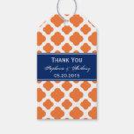 Boda de Quatrefoil del azul anaranjado y real Etiquetas Para Regalos