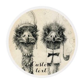 Boda de Sr. y de señora Ostrich Fancy Láminas De Glaseado Redondas