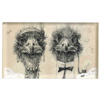 Boda de Sr. y de señora Ostrich Soporte Para Tarjeta De Mesa