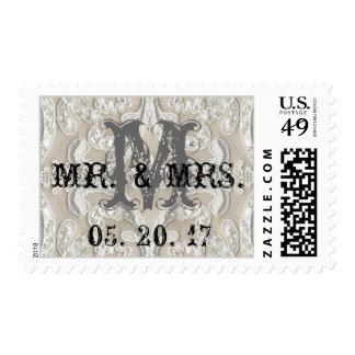 Boda de Sr. y de señora Vintage Lace Initial Sello