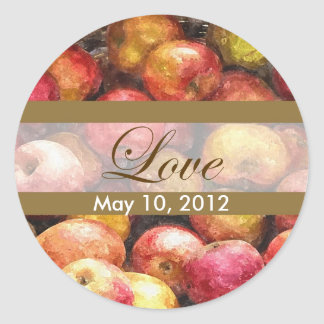 Boda del amor de la cesta 1 de Apple Etiquetas Redondas