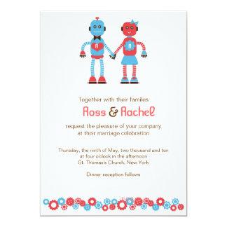 Boda del amor del robot invitación 12,7 x 17,8 cm