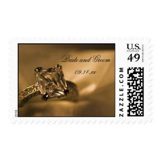 Boda del anillo de compromiso de Diamond de Timbre Postal