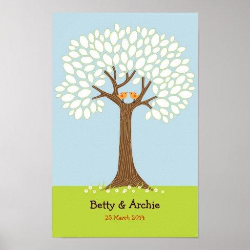 Boda del árbol de la huella dactilar/de la firma ( posters