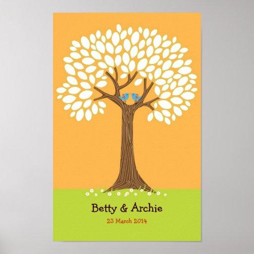 Boda del árbol de la huella dactilar/de la firma ( póster