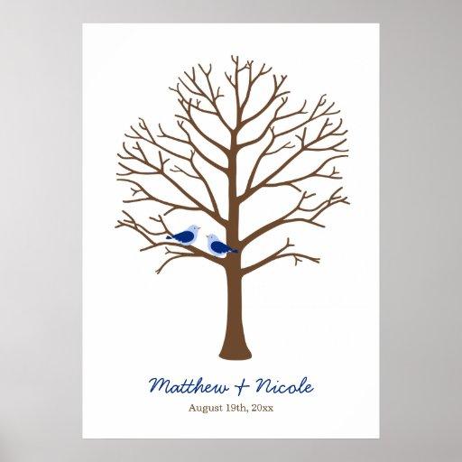 Boda del árbol de la huella dactilar de los pájaro poster