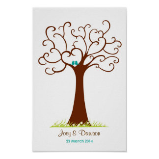 Boda del árbol de la huella dactilar - Heartastic  Poster