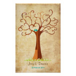 Boda del árbol de la huella dactilar - Heartastic  Posters