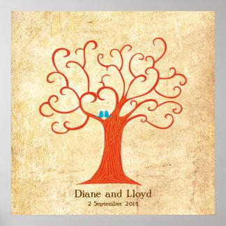 Boda del árbol de la huella dactilar (Heartastic)  Impresiones