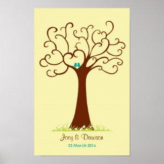Boda del árbol de la huella dactilar - Heartastic  Impresiones
