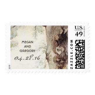 boda del árbol timbre postal