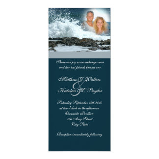 """Boda del azul de océano invitación 4"""" x 9.25"""""""
