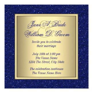 """Boda del azul real y del oro invitación 5.25"""" x 5.25"""""""