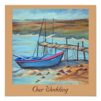 """boda del barco invitación 5.25"""" x 5.25"""""""