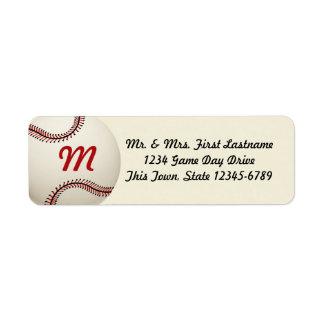 Boda del béisbol del vintage etiqueta de remitente