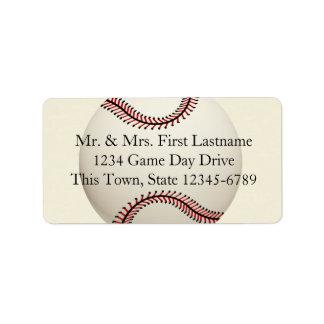 Boda del béisbol del vintage etiquetas de dirección