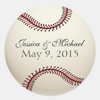 Boda del béisbol pegatina redonda