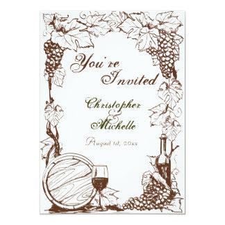 """Boda del bosquejo de las vides de uva del lagar invitación 5"""" x 7"""""""