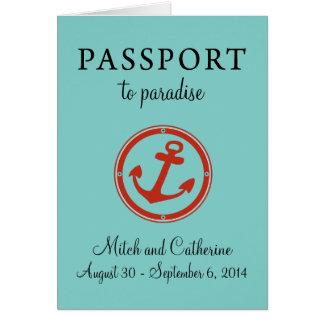 Boda del Caribe occidental del pasaporte de la tra Tarjeta