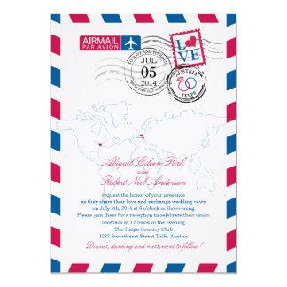 """Boda del corazón del correo aéreo de Austria Invitación 5"""" X 7"""""""
