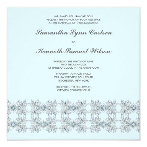 Boda del cordón de la joya de los azules cielos invitación 13,3 cm x 13,3cm