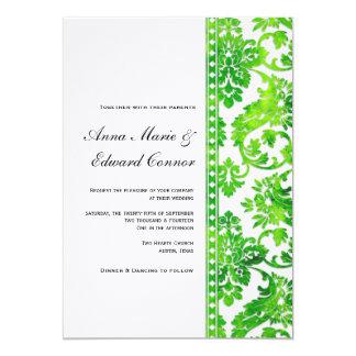Boda del cordón del damasco del vintage del verde invitaciones personales