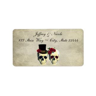 Boda del cráneo de la novia y del novio etiqueta de dirección