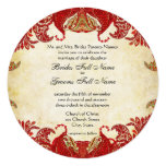 Boda del damasco de Paisley del vintage del rojo, Invitación Personalizada
