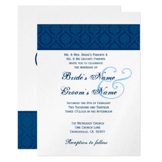 """Boda del damasco del diamante de los azules invitación 5"""" x 7"""""""