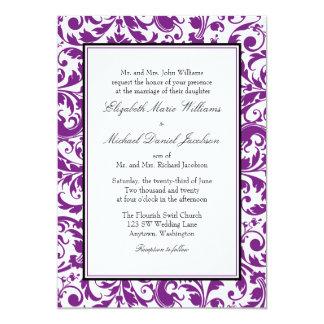 """Boda del damasco del remolino de la púrpura y del invitación 5"""" x 7"""""""