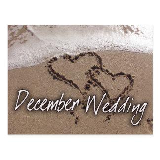 Boda del destino de la playa de diciembre - tarjetas postales