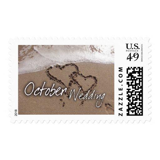 Boda del destino de la playa de octubre - sellos