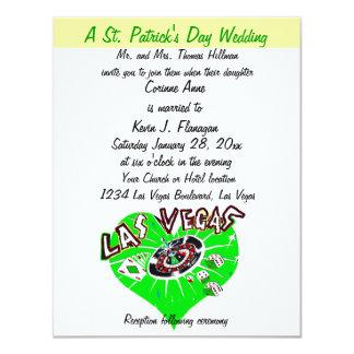 """Boda del día de Las Vegas St Patrick contemporáneo Invitación 4.25"""" X 5.5"""""""