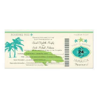 Boda del documento de embarque de Jamaica Invitación 10,1 X 23,5 Cm