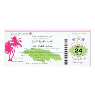 """Boda del documento de embarque de Jamaica Invitación 4"""" X 9.25"""""""