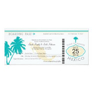 """Boda del documento de embarque de México Invitación 4"""" X 9.25"""""""