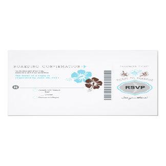 Boda del documento de embarque de RSVP Invitación 10,1 X 23,5 Cm
