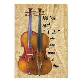 Boda del dúo del violín o invitación de la unión