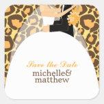 Boda del estampado leopardo de novia y del novio