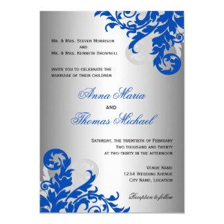 """Boda del Flourish del azul real y de la plata Invitación 5"""" X 7"""""""