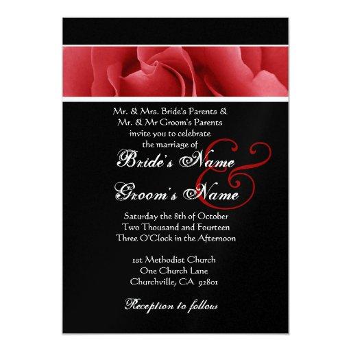 """Boda del fondo del rosa rojo y del negro invitación 5"""" x 7"""""""