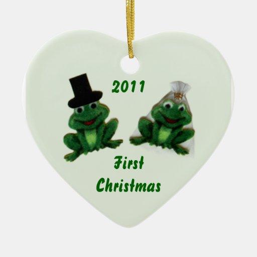 Boda del Froggy - primer ornamento del navidad Adorno