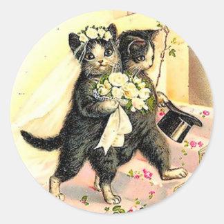 Boda del gato del gatito pegatina redonda