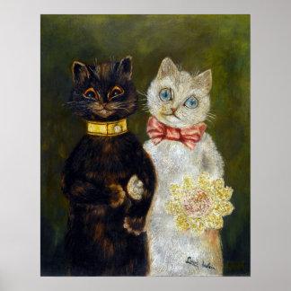 Boda del gato, Louis Wain Póster