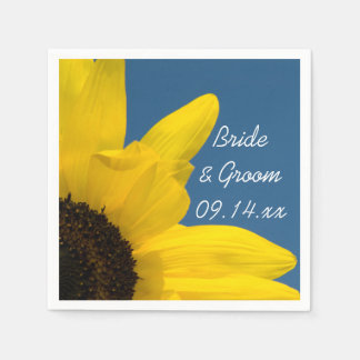 Boda del girasol amarillo y del cielo azul servilleta de papel