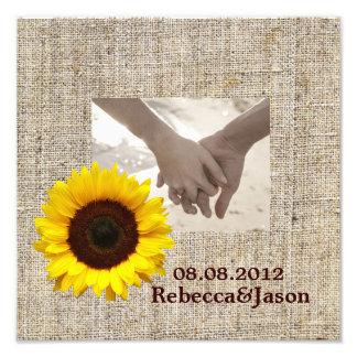 boda del girasol del amarillo de la arpillera del  fotografía