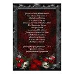 Boda del gótico de los cráneos y de los rosas invitacion personal