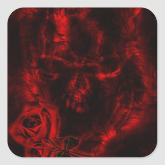Boda del gótico de los rosas del vampiro pegatina cuadrada
