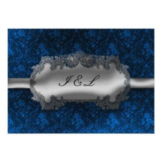 Boda del gótico del damasco de la mirada de la hoj invitacion personalizada